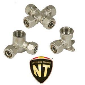 Фитинги латунные NT серия 1500 компрессионные для PE-х труб