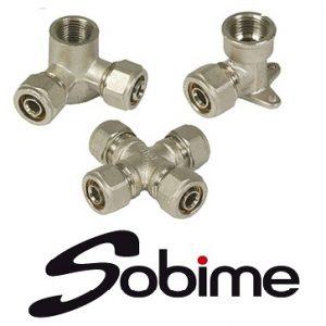 Фитинги латунные SOBIME компрессионные никелированные для металлопластиковых труб