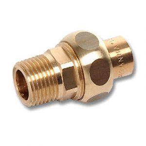 Разъемное соединение торцевое под ключ, бронза, соединние пайка/НРезьба, SANHA, артикул 4333g
