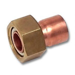 Муфта с накидной гайкой, медь/латунь, соединение пайка/внутренняя резьба, SANHA, артикул 5359g